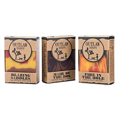 Wild Life Soap Gift Set – 3 Wild West themed handmade soaps from Outlaw Soaps: Blazing Saddles (leather soap), Fire in the Hole (campfire soap), and H…