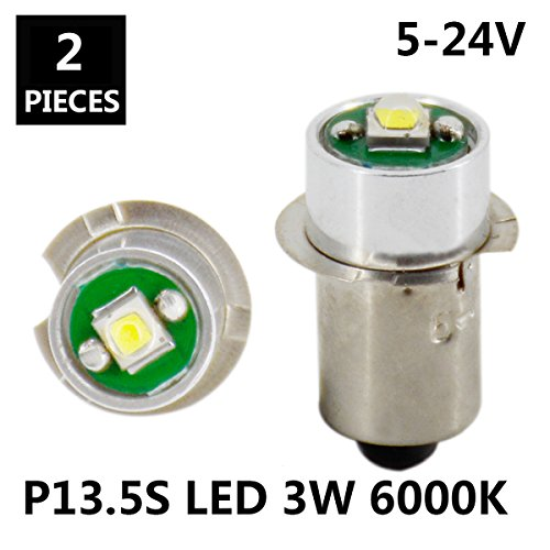 JESLED PR P13.5S 3W 247Lumen DC 5-24V 18 Volt CREE LED Upgrade Bulb Replacement For DEWALT Flashlight Torch Tooling Lantern Work Light Maglite LED Conversion Kit (2-Pack)