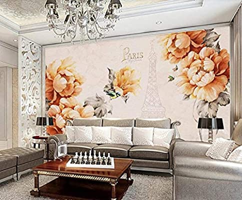 3d Wallpaper Hand Painted Flower Tower Retro Aesthetic Wall Stickers For Living Room Tv Background Amazon Co Uk Diy Tools