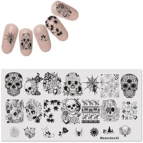 Mezerdoo 1Pcs Skull and Spider Web Series Nail Art Stamping Template]()