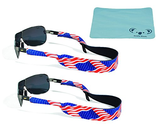 Croakies Original Neoprene Patriotic Eyewear Retainer Sunglass Strap Band | Eyeglass & Sports Glasses Holder Keeper Lanyard | 2pk Bundle + Cloth, USA American Flag - Sunglasses Deal Usa