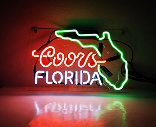 Cool Design Florida Led Neon Bar Light for Party Real Glass Beer Bar Neon Light Signs for Home Shop Store Beer Bar Pub Restaurant Billiards Shops Display Signboards (Multi-colored) Neon Beer