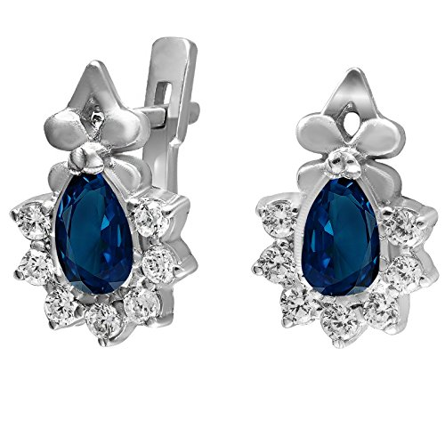 Rhodium-Plated 925 Sterling Silver Earrings with Dark Blue Round Zirconia Gemstones E023 (Stone Setting Earrings Plated Silver)