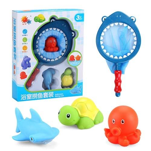XuBa 4pcs/Set New Born Baby Bath Toys Cute Mini Squeeze Sound Spray Water Sea Animal Educational Bathtub Water Toys for Baby...