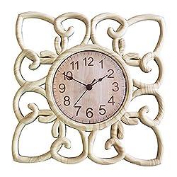SUN-E 10 Inch Silent Non Ticking Modern Retro Wall Clock Decor Wall Clocks Decorative for Home,Office,Square Classic Perfect Wall Decoration (Light Wood Grain)