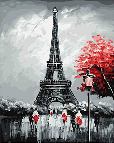 ABEUTY DIY Paint by Numbers for Adults Beginner - Eiffel Tower France Paris 16x20 inches Number Painting Anti Stress Toys (No Frame)