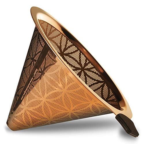 Titanium Coated Steel Reusable Cone Coffee Filter With Elegant Flower Of Life Pattern (No. 4) ()