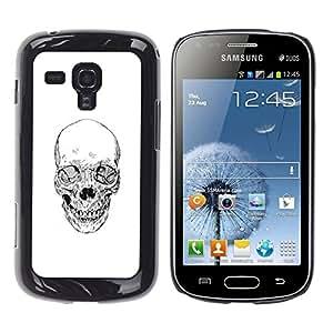Shell-Star Arte & diseño plástico duro Fundas Cover Cubre Hard Case Cover para Samsung Galaxy S Duos / S7562 ( Skull Death Biker Gang White Pencil )