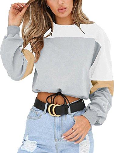 Angashion Womens Sweatshirt-Long Sleeve Drawstring Hem Color Block Crop Top Pullover Tops Light Grey S