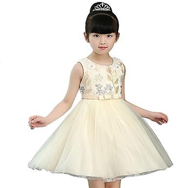 6045e13fdfe ChenXi Store Baby Girls Sleeveless Casual Sundress Wedding Party Tutu  Holiday Princess Dresses(Champagne Gold