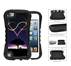 Starry Night Heart And Infinity Sign 2-Piece Dual Layer High Impact Rubber Silicone Case Cover Apple iPod Touch 5th Generation