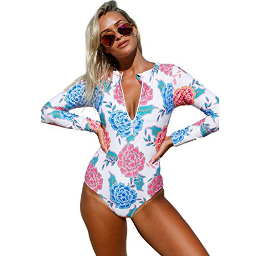 Richardy Women's Pink Blue Peony Long Sleeve Zip Front Printed One Piece Swimsuit Plus Size Bathing Suits Zip up Swimwear (Front Printed Zip)