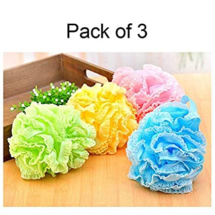 4 Pack Large Exfoliating Body Shower Bath Puff Sponge for Men And Women Yellow Blue Purple Pink Randomly Shipping CN