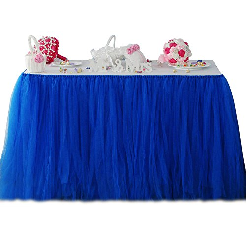 Fit Design Romantic TUTU Table Skirt Tulle Tableware Queen Wonderland Table Cloth Skirting for Girl Princess Party Wedding Christmas Baby Shower Birthday Cake Table Decoration(1Yard,Royal Blue) -