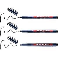 edding 1800 precisiefineliner - zwart - 3 stiften - verschillende lijndiktes - fineliner om precies te schrijven en…