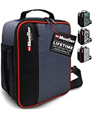 Mueller Ultra Insulated Reusable Lunch Box for Men, Durable Splash-Proof Lunch Bag, Front Slim Pocket, 4 Compartments, Extendable & Removable Carry Strap and Belt Straps, Small, Camo Green