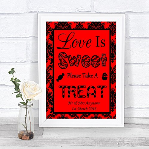 Red Black Damask Love Is Sweet Candy Bar Cart Buffet Personalized Wedding -