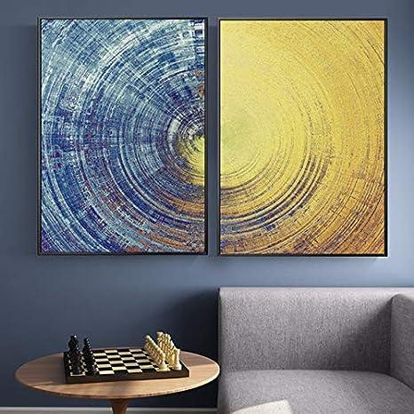 ganlanshu Pintura sin Marco Abstracto círculo Azul y Amarillo patrón Moderno Lienzo Arte de la Pared Sala de Estar decoración del hogarZGQ4303 50X75cmx2