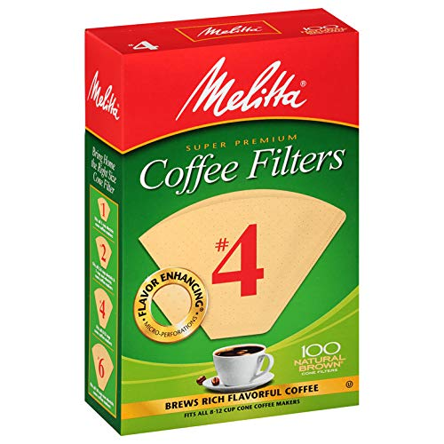 Melitta (63217C) #4 Super Premium Cone Coffee Filters, Natural Brown, 100 Count (Pack of 6)