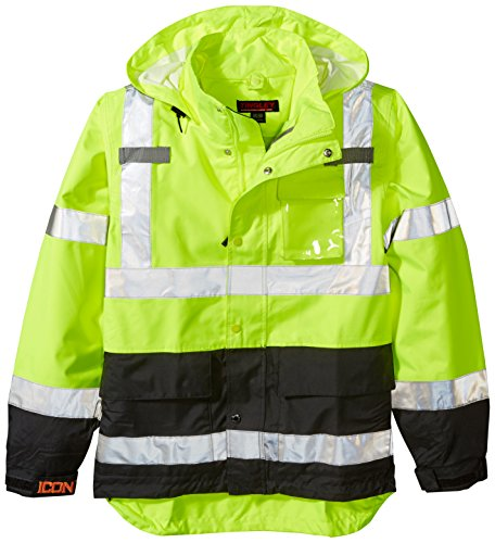ICON J24122.SM Breathable 300D Polyurethane Hi-Vis Jacket with Reflective Tape, Small, Fluorescent Yellow/Green