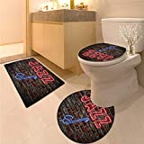 Anhuthree Music Bath Toilet mat Set Image of Alluring Neon All Jazz Sign with Saxophone Instrument on Brick Wall Print Elongated Toilet Lid Cover Set Red Blue