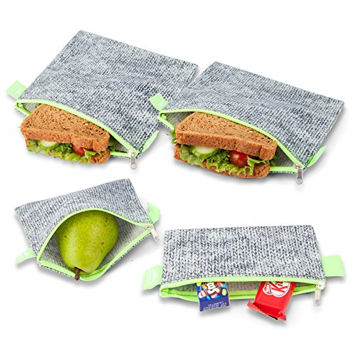 Nordic By Nature Premium Grey & Neon Green Sandwich & Snack bags | Designer Set of 4 Pack | Resealable, Reusable and Eco Friendly Dishwasher Safe Lunch Bags | Functional Easy Open Zipper | Great Value (Flat Base Platinum)