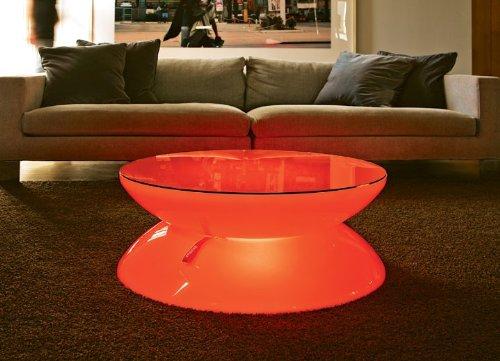 Couchtisch Lounge LED Pro Accu Leuchttisch Wohnzimmertisch Couchtisch by Moree, Tischplatte:mit Glasplatte;Farbsteuerung:RC-Fernbedienung