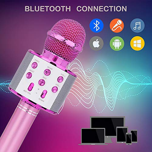 SUGOO Karaoke Microphone for Kids, Singing Machine Microphone Birthday Family Party Gift for Girls Boys Children Kids Age 6-15 Year Old Girl Gift Wireless Microphone Bluetooth Purple Mic by SUGOO (Image #1)