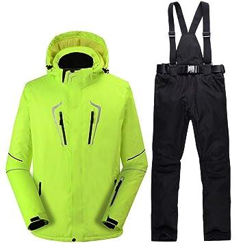 Zjsjacket Chaqueta de Esqui -30 Fluorescente Hombre Verde Traje de Nieve Juegos de Snowboard al
