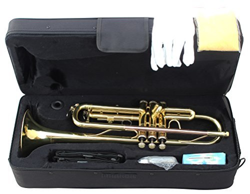 Crescent Concert Band Gold Plated Trumpet w/ Case + Tuner - Teacher Approved