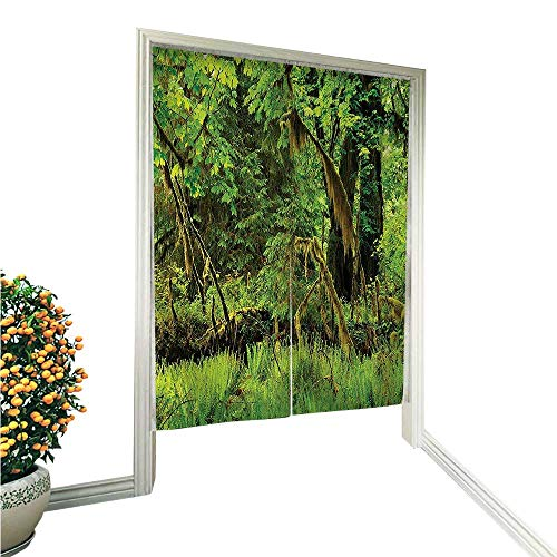 Noren Doorway Curtain TapestryTrees with Moss Natural Paradise Silence in The Wild Nature Relaxation Illustration Green Home Decoration Tapestry for 33.5