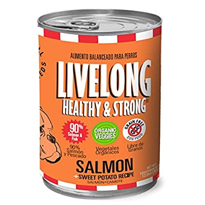 LiveLong Healthy Strong Sweet Potato Can Dog Food Made with 90% Meat, 13 oz, 12-Cans