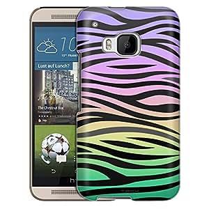 HTC One M9 Case, Slim Snap On Cover Zebra Print on Rainbow Case
