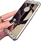 iPhone 6 Case ,LA GO GO(TM) Beauty Luxury Diamond Hybrid Glitter Bling Soft Shiny Sparkling with Glass Mirror Back Plate Cover Case for Apple iPhone 6 (4.7) - Retail Packaging (Gold)