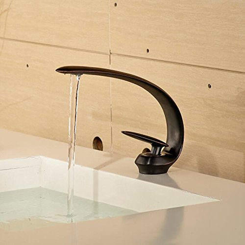 5151buyworld hochwertig Wasserhahn mit Halterung mit Auslauf Badezimmer mit Duscharmatur Wasserhahn Einhandmischer Messing Mixer Taps bronzefarben für Badezimmer, Küche zuhause gaden, schwarz