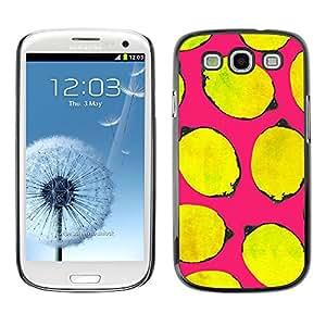 Cubierta de la caja de protección la piel dura para el SAMSUNG GALAXY S3 & I9300 - yellow life art pink minimalist