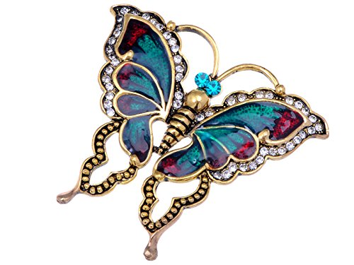 (Alilang Womens Antique Golden Tone Turquoise Red Vintage Butterfly Brooch Pin)