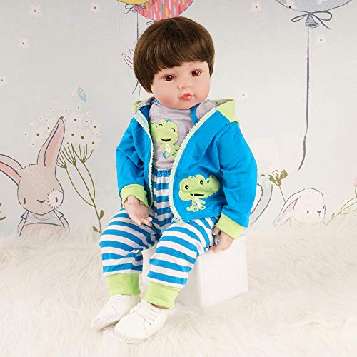 Tianara Reborn Baby Doll Toddler Gifts 24 inch Realistic Real Like Boy Blue Monkey Outfit with White Shoes