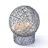 "Pawhut 24"" Hooded Rattan Wicker Elevated Cat Bed - Gray/Beige"