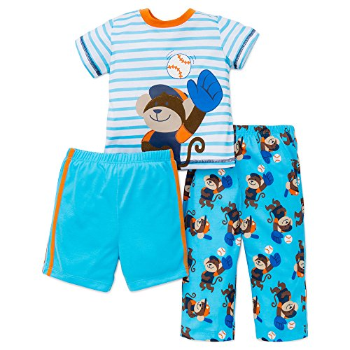 Monkey Sleep Sets - Little Me Baby Boys Pajamas 3 Piece Sleepwear Monkey Shirt Pants Shorts Blue 18M