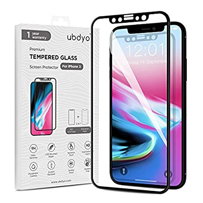 iPhone X Screen Protector ubdyo - iPhone X Tempered Glass HD Clear Screen Protector [3D Full Coverage] - Ultra Thin 9H Protective Film [2.5D Black Pet Soft Edge] for Apple iPhone X / 10 [2017]