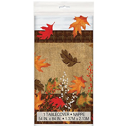 Rustic Autumn Leaves Plastic Tablecloth, 84