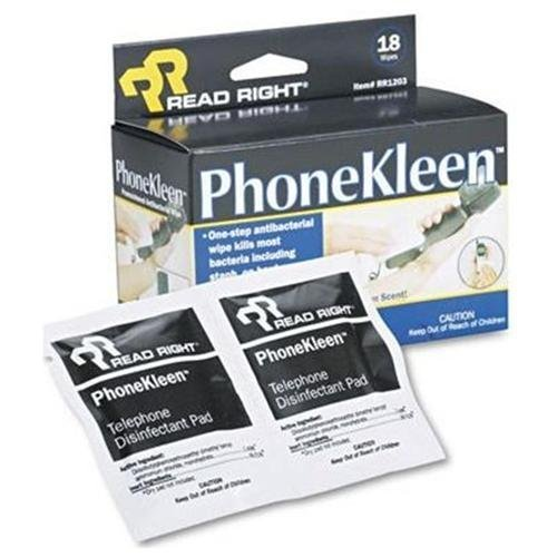 Ace Office Read Right RR1203 PhoneKleen Wet Wipes Cloth 5 x 5 18/Box (Phonekleen Wipes Wet)