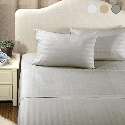 Sheet Set Queen Size Lt Grey Damask Stripe Design Bedding Sets with Deep Pocket 4 Piece Soft Smooth Wrinkle&Fade Resistant Hypoallergenic Microfiber Bed Sheets by Bedsure