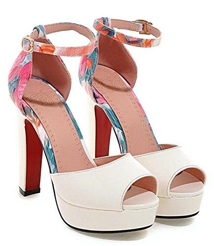 Easemax Kvinna Elegant Peep Toe Plattform Sandaler Skor Vita
