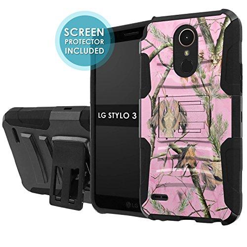 LG Stylo 3 [NakedShield] [Black/Black] Total Defense Armor Case [KickStand] [Holster] [Screen Protector] - [Pink Hunter Camouflage] for LG Stylo (Lg Hunter)