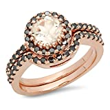 14K Rose Gold Round Morganite & Black Diamond Ladies Bridal Halo Style Engagement Ring Set (Size 6.5)