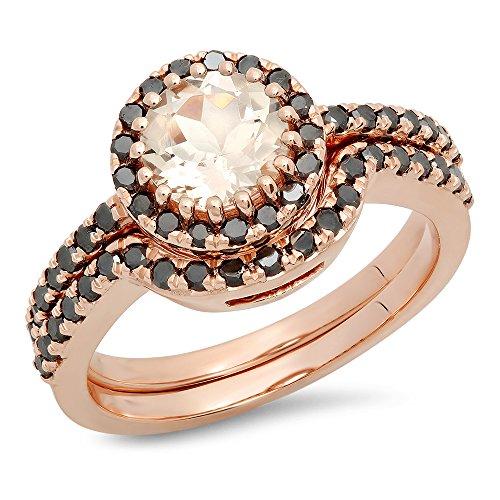 14K Rose Gold Round Morganite & Black Diamond Ladies Bridal Halo Style Engagement Ring Set (Size 6.5) by DazzlingRock Collection