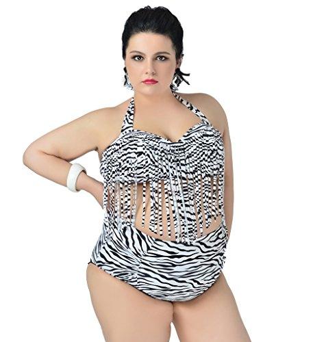 Fringe 2 Piece Set - Papaya wear Womens Plus Size High Waist Fringe Swimwear Two Piece Swimsuit