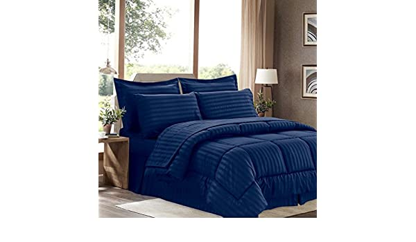 8 Piece Bed In A Bag Hotel Dobby Embossed Comforter Sheet Bed Skirt Sham Set NEW